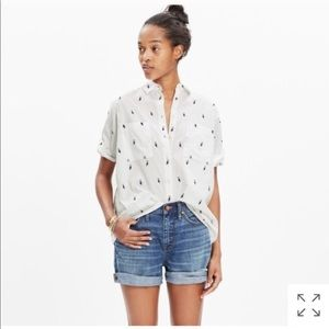 Madewell courier shirt in pelican jacquard